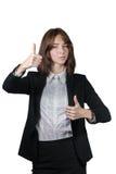 Retrato de la empresaria aislado en blanco foto de archivo