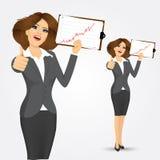Retrato de la empresaria con el tablero libre illustration