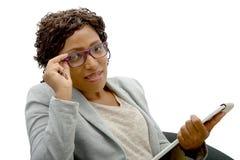 Retrato de la empresaria del afroamericano foto de archivo