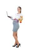 Retrato de la empresaria embarazada ocupada con el cuaderno Fotografía de archivo