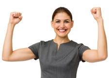 Retrato de la empresaria feliz Gesturing Success Imagenes de archivo
