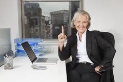 Retrato de la empresaria mayor con el ordenador portátil en el escritorio en oficina Imágenes de archivo libres de regalías