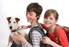 Retrato de la escuela con el perro Imagenes de archivo