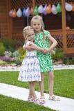 Retrato de la familia de dos hermanas en el fondo del parque del verano Imagen de archivo libre de regalías