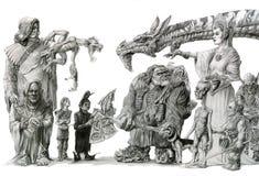 Retrato de la familia de la fantasía Imagenes de archivo