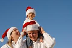 Retrato de la familia de la Navidad Imagenes de archivo