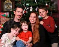 Retrato de la familia de la Navidad Foto de archivo
