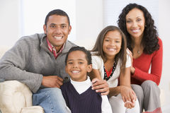 Retrato de la familia en la Navidad Fotos de archivo libres de regalías