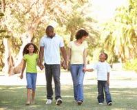 Retrato de la familia feliz que recorre en parque imagen de archivo