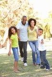 Retrato de la familia feliz que recorre en parque imágenes de archivo libres de regalías
