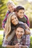Retrato de la familia que miente en hierba en campo Imagenes de archivo