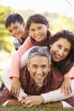 Retrato de la familia que miente en hierba en campo Fotografía de archivo