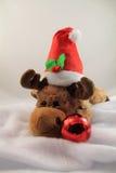 Retrato de la felpa linda del reno de la Navidad en estudio Fotografía de archivo libre de regalías