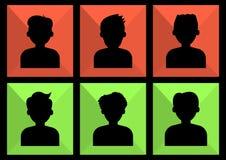 Retrato de la gente Icono coloreado gente social de la red Fije de los avatares de los hombres, siluetas anónimas, negras Vector stock de ilustración
