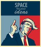 Retrato de la historieta de Donald Trump Giving un discurso ilustración del vector