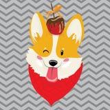 Retrato de la historieta del perro sonriente con el caramelo Perro lindo de la Navidad El símbolo del año Ejemplo del vector para libre illustration