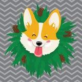 Retrato de la historieta de un perro con una guirnalda Perro lindo de la Navidad El símbolo del año Ejemplo del vector para un sa libre illustration