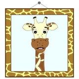 Retrato de la jirafa en marco de la jirafa Fotos de archivo libres de regalías