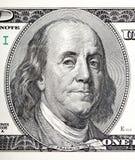 Retrato de la macro de Benjamin Franklin a partir de 100 dólares de cuenta Foto de archivo