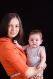 Retrato de la madre y del bebé seis meses imagen de archivo libre de regalías