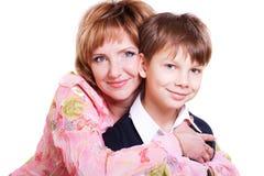 Retrato de la madre y del hijo de 9 años Imagen de archivo libre de regalías