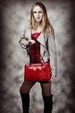 Retrato de la manera de la mujer atractiva con el bolso Imagen de archivo