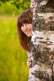 Retrato de la mirada de risa de la muchacha Fotografía de archivo