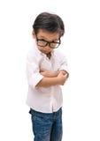 Retrato de la mirada observada muchacho con los vidrios Fotos de archivo libres de regalías