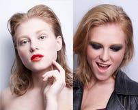 Retrato de la misma muchacha con diverso maquillaje dos imagen de archivo libre de regalías
