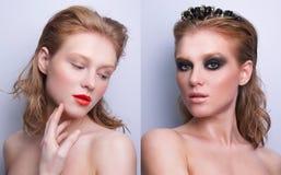Retrato de la misma muchacha con diverso maquillaje dos fotos de archivo libres de regalías