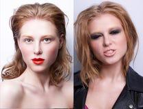 Retrato de la misma muchacha con diverso maquillaje dos foto de archivo