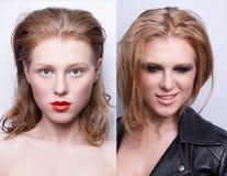 Retrato de la misma muchacha con diverso maquillaje dos fotografía de archivo libre de regalías