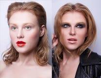 Retrato de la misma muchacha con diverso maquillaje dos foto de archivo libre de regalías