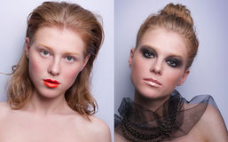 Retrato de la misma muchacha con diverso maquillaje dos fotos de archivo