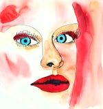 Retrato de la moda de la acuarela de la mujer con maquillaje Estilo del moderm del minimalismo del dibujo ilustración del vector