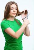 Retrato de la moda del estilo de pelo de la mujer Aislado en el fondo blanco Imágenes de archivo libres de regalías