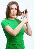 Retrato de la moda del estilo de pelo de la mujer En el fondo blanco Imágenes de archivo libres de regalías