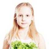 Retrato de la muchacha adolescente con la verdura verde Imagen de archivo