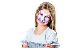 Retrato de la muchacha adolescente con la pintura de la cara del gato Imagen de archivo libre de regalías