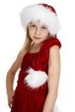 Retrato de la muchacha adolescente en traje de la Navidad Imagen de archivo