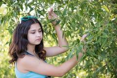 Retrato de la muchacha adolescente que sueña en naturaleza Foto de archivo libre de regalías