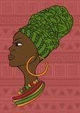 Retrato de la muchacha africana hermosa en un pañuelo stock de ilustración