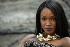 Retrato de la muchacha afroamericana hermosa Foto de archivo