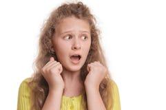 Retrato de la muchacha asustada Fotografía de archivo
