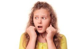 Retrato de la muchacha asustada Imágenes de archivo libres de regalías