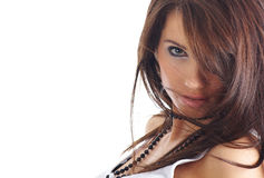 Retrato de la muchacha atractiva con el pelo largo Imagenes de archivo