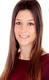 Retrato de la muchacha atractiva con los ojos marrones Imágenes de archivo libres de regalías