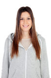 Retrato de la muchacha atractiva con los ojos y la ropa de deportes del marrón Imagen de archivo