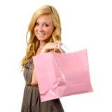 Retrato de la muchacha bastante adolescente con el bolso de compras Fotos de archivo libres de regalías