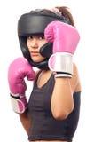 Retrato de la muchacha bonita del boxeo de retroceso Foto de archivo libre de regalías